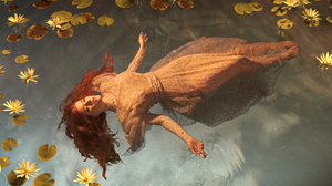 Women Model Cosplay Water Wet Long Hair Redhead Dress Ophelia 6000x4000 wallpaper