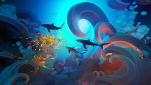 Tyler Smith Digital Art Shark Fish Water Underwater Digital Artwork 4K 3840x2160 Wallpaper