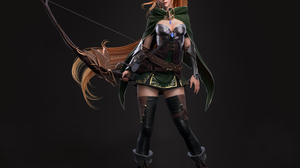 Cifangyi CGi Women Elves Archer Redhead Long Hair Ponytail Pointy Ears Cape Green Clothing Bow Belt  3840x3840 Wallpaper