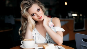 Model Women Red Lipstick Hands In Hair White Dress Coffee Blue Eyes Ivan Proskurin 2048x1365 Wallpaper
