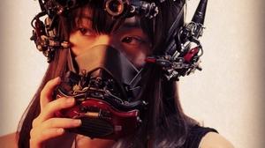 Women Cyberpunk Gas Masks Asian Mask Dark Hair Long Hair 1024x1280 Wallpaper