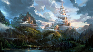 Artwork Fantasy Art Nature Mountains River Lake Clouds 1920x960 wallpaper