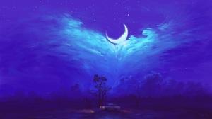 Digital Painting Sky Night Clouds Moon Car Couple Romantic BisBiswas 1920x1080 Wallpaper
