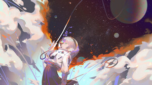 Anime Anime Girls Space Space Suit Stars Planet Flowers Blonde Aqua Eyes Short Hair Skirt Clouds Ori 8192x4320 Wallpaper