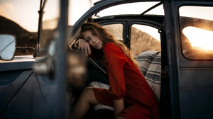 Car Girl Model Mood 2048x1152 wallpaper