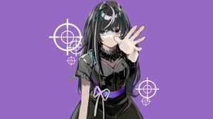 Anime Girls Anime Purple Background Simple Background Black Hair Purple Eyes Vocaloid 1920x1080 Wallpaper