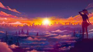 Anime Girls Sunrise Landscape 1280x800 Wallpaper