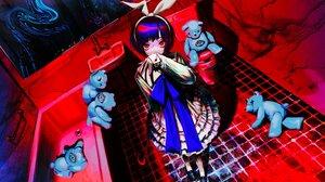 Anime Anime Girls Teddy Bears Crowbar Red Eyes Skirt Bunny Ears Short Hair Bathroom Toilets Mirror L 4096x2304 Wallpaper