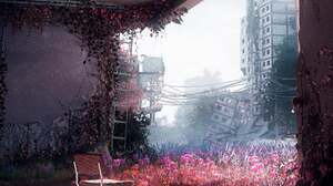 Artwork Digital Art Flowers Urban Decay Building Ruin Ruins Apocalyptic City Science Fiction Chair S 2160x2700 wallpaper