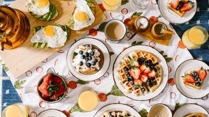 Breakfast Egg Fruit Still Life Waffle 6000x4000 Wallpaper