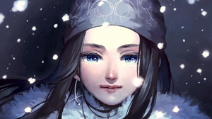 Golden Kamuy Long Hair Winter Snow Fur Coats Anime Girls Black Hair Anime Asirpa Golden Kamuy Bandan 2000x1319 Wallpaper
