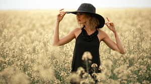 Women Hat Flowers Black Clothing Blonde Model Looking At The Side Field Summer Nature Sunlight 4095x2730 Wallpaper