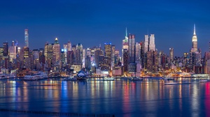 Building City New York Night Skyscraper Usa 5540x2300 Wallpaper