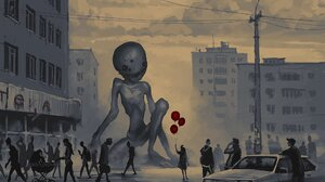 Creepy Creature Giant City Balloon Boris Groh 2000x1622 Wallpaper