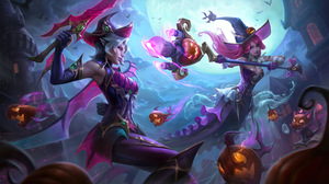 Bewitching League Of Legends Riot Games Halloween Witch Fiora League Of Legends Nami Nami League Of  7680x4320 Wallpaper