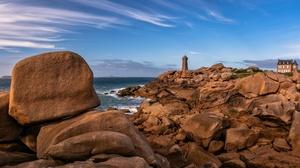 Nature Coast Stones Rock Outdoors France Sky Lighthouse 3840x2160 Wallpaper