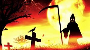 Grim Reaper Halloween Holiday Moon Raven 1600x1200 Wallpaper