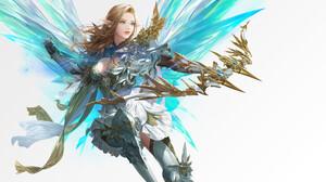 Daeho Cha Artwork Women Fantasy Art Fantasy Girl Wings Brunette Bow Archer Long Hair Pointy Ears 1920x1452 Wallpaper