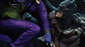 Artwork Comic Art Digital Art Joker Batman Battle 1317x2000 Wallpaper