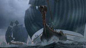 Pierre Santamaria Vikings Ship Sailing Ship Sailing Digital Art Book Cover Drawing Sea Water Fan Art 3000x1858 wallpaper