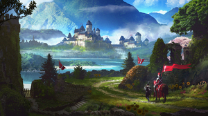 Banner City Knight Landscape Warrior 4000x1799 Wallpaper