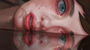 Tatiana Maevskikh Artwork Women Face Reflection Blue Eyes Red Lipstick Lipstick Brunette 1671x1671 Wallpaper