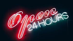 Neon Neon Sign Open Red 5120x2880 Wallpaper