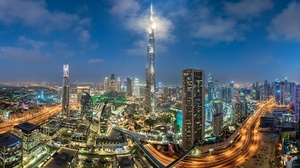 Building Night City Skyscraper United Arab Emirates Burj Khalifa 2000x1220 Wallpaper