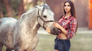 Women Model Outdoors Horse 3600x2400 Wallpaper