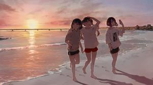 Anime Girls Original Characters Sunset Beach Landscape Sea Daluto Smartphone Women On Beach Short Ha 2048x1256 Wallpaper