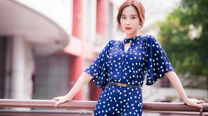 Asian Model Women Long Hair Brunette Depth Of Field Blue Dress Belt Railings Leaning Trees Building  3840x2559 wallpaper