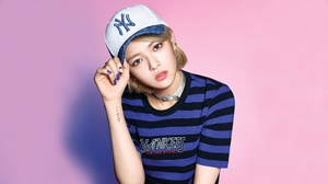 Twice Twice JeongYeon Girl Band K Pop Asian Korean Korean Women Pink Lipstick Pink Background 3840x2160 wallpaper