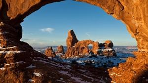 Arches National Park Rock Arch Utah Snow Winter Sandstone Wilderness Landscape 3000x1999 Wallpaper