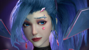 Qingze Zhao Ponytail Blue Hair Blue Eyes Looking Away Women Hair Ribbon Digital Art CGi Face Artwork 3072x3072 Wallpaper