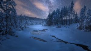 Forest Snow River Sky Night Starry Sky 2048x1365 Wallpaper