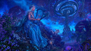 Artwork Fantasy Art Blue Fantasy Girl Harp Lipstick Blue Eyes Blue Hair Musical Instrument 3840x2160 Wallpaper