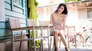 Asian Model Women Long Hair Brunette Barefoot Sandal Tattoo Sitting Chair Bicycle Depth Of Field Hed 1920x1279 wallpaper