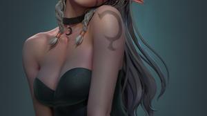 Ting Xue CGi Women Elves Face Paint Dress Tattoo Green Clothing Simple Background Braids Blue Eyes 1920x2579 Wallpaper