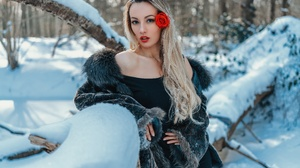 Andreas Joachim Lins Olya Alessandra Model Women Blonde Blue Eyes Coats Fur Coats Dress Black Dress  6144x4098 Wallpaper