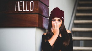 Women Portrait Brunette Women With Hats Toque Long Hair Black Sweater Covered Face Brown Eyes Coveri 2048x1365 Wallpaper