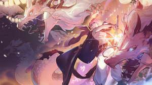 Anime Anime Girls Alchemy Stars Dragon Pink Hair Sarashi Sword 1976x1050 wallpaper