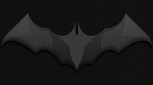 Batman Logo DC Comics Comic Books Minimalism Simple Black Shapes Interference Bat Wings 8192x4320 Wallpaper