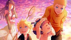 Uzumaki Naruto Hyuuga Hinata Uzumaki Boruto Sunset Uzumaki Himawari Wreaths Families Anime Naruto Sh 1920x1080 Wallpaper