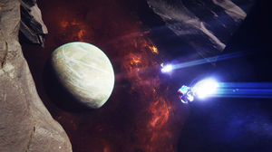 Space Spaceship Spacescapes Planet Asteroid Nebula 3840x2160 Wallpaper