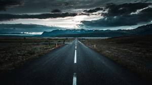 Dawn Landscape Nature Road Sky 2048x1100 wallpaper