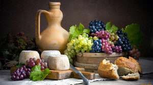 Still Life Food Cheese Fruit Berries Grapes Bread 1920x1080 Wallpaper
