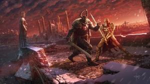 Armor Building Dragon Fight Knight Statue Sword Warrior 6088x3508 Wallpaper