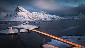 Light Trails Winter Bridge Mountains Night Lights Cold Landscape Alexandr Kukrinov Boat Street Light 2048x1332 Wallpaper