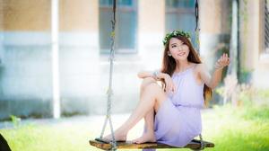 Woman Model Smile Dress Wreath Depth Of Field Swing 4500x3002 Wallpaper