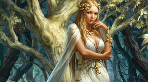 Fantasy Forest Girl Woman 1920x1440 Wallpaper